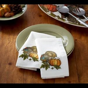 Set of 6- Pottery Barn Heritage Turkey Napkins